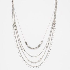 Silver Multistrand Layered Spiked Necklace